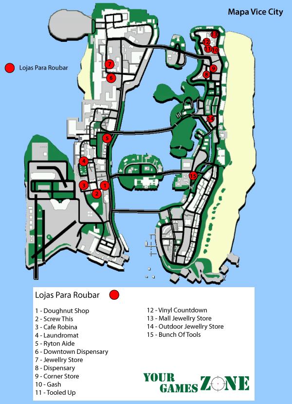 Mapa Lojas para Roubar GTA Vice City
