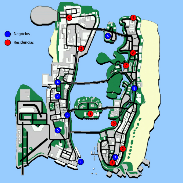 Mapa das Propriedades de GTA Vice City