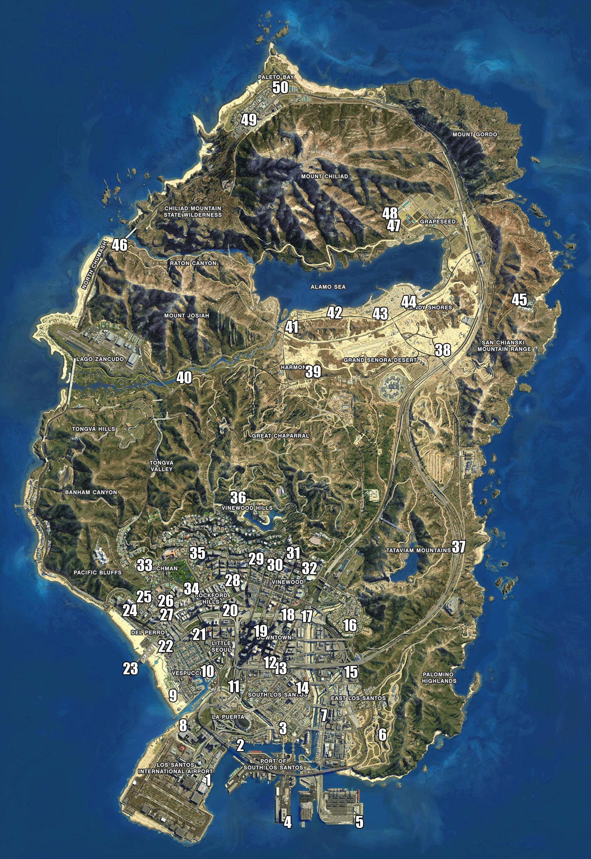 GTA V Mapa Localização Mosaicos do Macaco