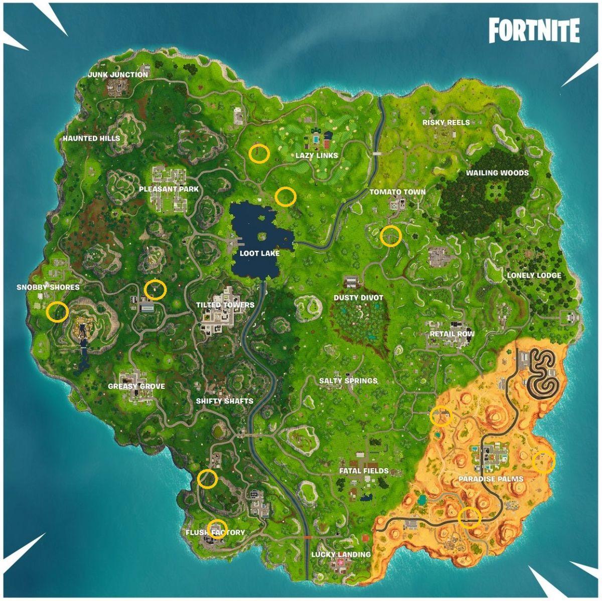 Fortnite Battle Royale Localização dos Anéis de Fogo